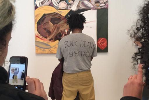 Protester mot maleri på Whitneybiennalen